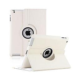 Carcasa de Cuero Giratoria con Soporte para Apple iPad 3 Blanco