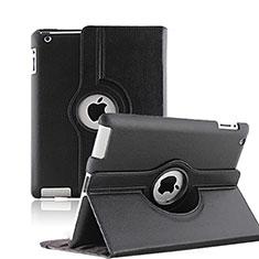 Carcasa de Cuero Giratoria con Soporte para Apple iPad 3 Negro