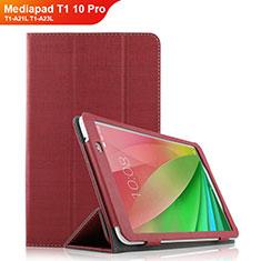 Carcasa de pano Cartera con Soporte para Huawei Mediapad T1 10 Pro T1-A21L T1-A23L Rojo