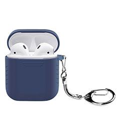 Carcasa de Silicona con Mosqueton Enchufe para AirPods Funda de Carga Z04 Azul