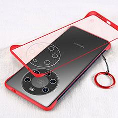 Carcasa Dura Cristal Plastico Funda Rigida Transparente H01 para Huawei Mate 40 Pro+ Plus Rojo