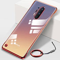 Carcasa Dura Cristal Plastico Funda Rigida Transparente H01 para OnePlus 8 Pro Rojo