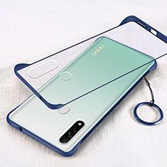 Carcasa Dura Cristal Plastico Funda Rigida Transparente H01 para Oppo A8 Azul