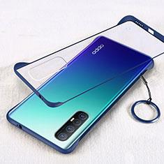 Carcasa Dura Cristal Plastico Funda Rigida Transparente H01 para Oppo Reno3 Pro Azul