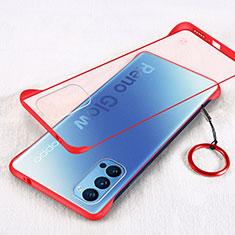 Carcasa Dura Cristal Plastico Funda Rigida Transparente H01 para Oppo Reno4 5G Rojo
