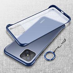 Carcasa Dura Cristal Plastico Funda Rigida Transparente H01 para Oppo Reno4 Z 5G Azul