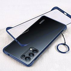 Carcasa Dura Cristal Plastico Funda Rigida Transparente H01 para Oppo Reno5 Pro 5G Azul