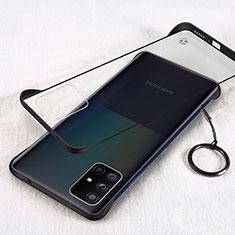 Carcasa Dura Cristal Plastico Funda Rigida Transparente H01 para Samsung Galaxy A71 5G Negro