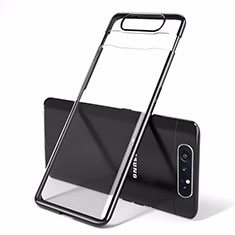 Carcasa Dura Cristal Plastico Funda Rigida Transparente H01 para Samsung Galaxy A80 Negro