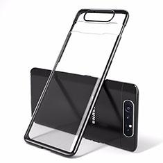Carcasa Dura Cristal Plastico Funda Rigida Transparente H01 para Samsung Galaxy A90 4G Negro
