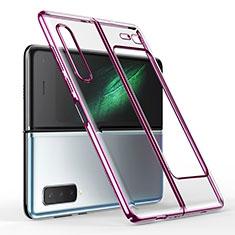 Carcasa Dura Cristal Plastico Funda Rigida Transparente H01 para Samsung Galaxy Fold Morado