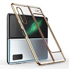 Carcasa Dura Cristal Plastico Funda Rigida Transparente H01 para Samsung Galaxy Fold Oro