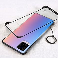 Carcasa Dura Cristal Plastico Funda Rigida Transparente H01 para Vivo V20 Pro 5G Negro