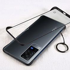 Carcasa Dura Cristal Plastico Funda Rigida Transparente H01 para Vivo X60 Pro 5G Negro