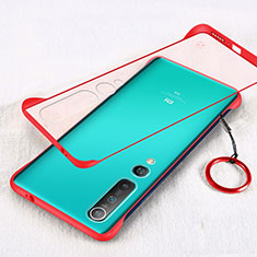 Carcasa Dura Cristal Plastico Funda Rigida Transparente H01 para Xiaomi Mi 10 Rojo