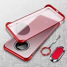 Carcasa Dura Cristal Plastico Funda Rigida Transparente H01 para Xiaomi Mi 10i 5G Rojo