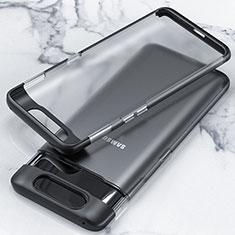 Carcasa Dura Cristal Plastico Funda Rigida Transparente H02 para Samsung Galaxy A90 4G Negro