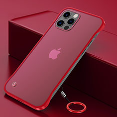 Carcasa Dura Cristal Plastico Funda Rigida Transparente N01 para Apple iPhone 12 Pro Max Rojo