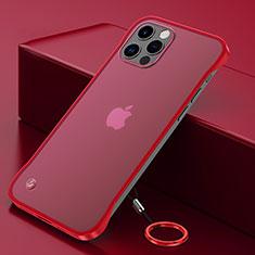 Carcasa Dura Cristal Plastico Funda Rigida Transparente N01 para Apple iPhone 12 Pro Rojo