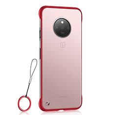 Carcasa Dura Cristal Plastico Funda Rigida Transparente S01 para OnePlus 7T Rojo