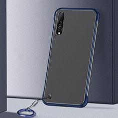 Carcasa Dura Cristal Plastico Funda Rigida Transparente S01 para Samsung Galaxy A70S Azul