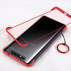Carcasa Dura Cristal Plastico Funda Rigida Transparente S01 para Samsung Galaxy A80 Rojo