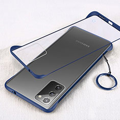 Carcasa Dura Cristal Plastico Funda Rigida Transparente S01 para Samsung Galaxy Note 20 5G Azul