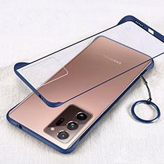 Carcasa Dura Cristal Plastico Funda Rigida Transparente S01 para Samsung Galaxy Note 20 Ultra 5G Azul