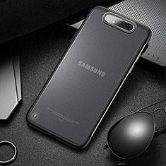 Carcasa Dura Cristal Plastico Funda Rigida Transparente S02 para Samsung Galaxy A80 Negro