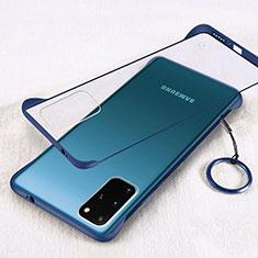 Carcasa Dura Cristal Plastico Funda Rigida Transparente S02 para Samsung Galaxy S20 Plus 5G Azul