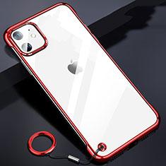 Carcasa Dura Cristal Plastico Funda Rigida Transparente S03 para Apple iPhone 11 Rojo