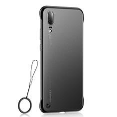 Carcasa Dura Cristal Plastico Funda Rigida Transparente S04 para Huawei P20 Negro