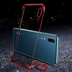 Carcasa Dura Cristal Plastico Funda Rigida Transparente S05 para Huawei P20 Rojo