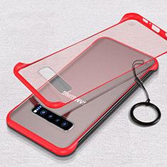 Carcasa Dura Cristal Plastico Funda Rigida Transparente S05 para Samsung Galaxy S10 Plus Rojo