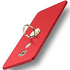 Carcasa Dura Plastico Rigida Mate con Anillo de dedo Soporte A02 para Huawei Mate S Rojo
