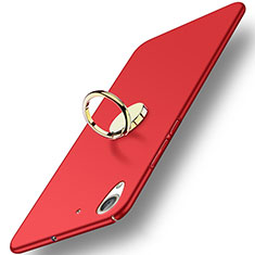 Carcasa Dura Plastico Rigida Mate con Anillo de dedo Soporte A03 para Huawei Honor Holly 3 Rojo