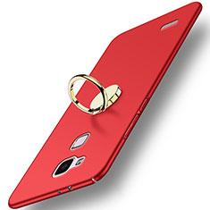 Carcasa Dura Plastico Rigida Mate con Anillo de dedo Soporte A04 para Huawei Mate 7 Rojo