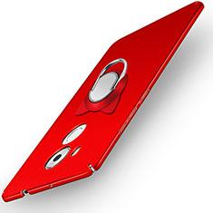 Carcasa Dura Plastico Rigida Mate con Anillo de dedo Soporte A05 para Huawei Mate 8 Rojo