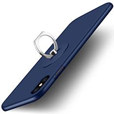 Carcasa Dura Plastico Rigida Mate con Anillo de dedo Soporte para Apple iPhone X Azul