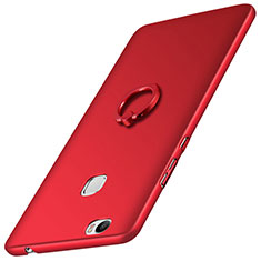 Carcasa Dura Plastico Rigida Mate con Anillo de dedo Soporte para Huawei Honor Note 8 Rojo