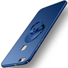 Carcasa Dura Plastico Rigida Mate con Anillo de dedo Soporte para Huawei P10 Lite Azul
