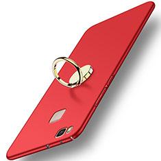 Carcasa Dura Plastico Rigida Mate con Anillo de dedo Soporte para Huawei P9 Lite Rojo