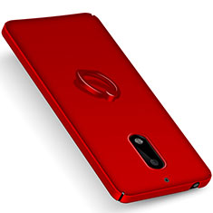 Carcasa Dura Plastico Rigida Mate con Anillo de dedo Soporte para Nokia 6 Rojo