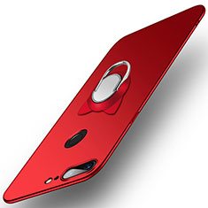 Carcasa Dura Plastico Rigida Mate con Anillo de dedo Soporte para OnePlus 5T A5010 Rojo