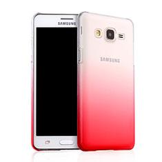 Carcasa Dura Plastico Rigida Transparente Gradient para Samsung Galaxy On5 Pro Rojo