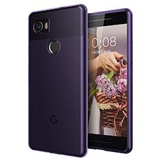 Carcasa Gel Ultrafina Transparente para Google Pixel 2 XL Morado