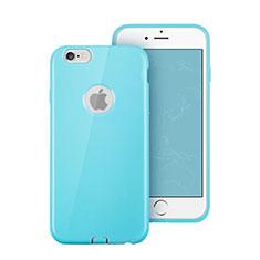 Carcasa Silicona Goma con Agujero para Apple iPhone 6 Azul Cielo