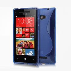 Carcasa Silicona Transparente S-Line para HTC 8X Windows Phone Azul