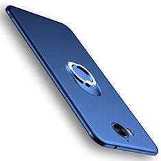 Carcasa Silicona Ultrafina Goma con Anillo de dedo Soporte para Huawei Y6 (2017) Azul