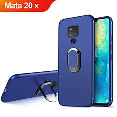 Carcasa Silicona Ultrafina Goma con Magnetico Anillo de dedo Soporte para Huawei Mate 20 X 5G Azul
